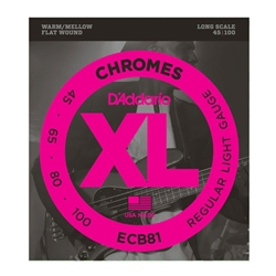 D'Addario ECB81 Chromes Flat Wound 45-100 Bass String Set