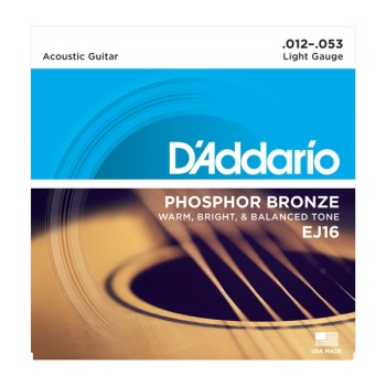 D'Addario EJ16-3D 3-Pack Phosphor Bronze Light Acoustic Guitar String Set