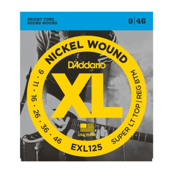 D'Addario EXL125 Nickel Wound Super LIght Top/Regular Bottom Electric Guitar String Set