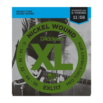 D'Addario EXL117 Nickel Wound Medium Top/Extra Heavy Bottom Electric Guitar String Set