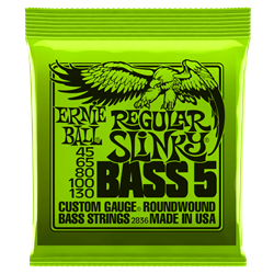Ernie Ball Regular Slinky 5-String Nickel Wound Electric Bass Strings - 45-130 Gauge