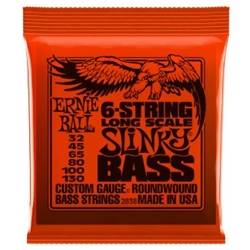 Ernie Ball Slinky Long Scale 6-String Nickel Wound Electric Bass Strings - 32-130 Gauge