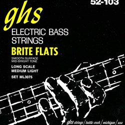 GHS ML3075 Bright Flats Flatwound Electric Bass Strings