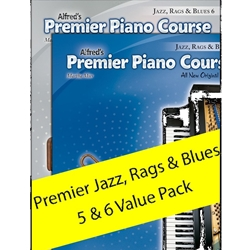 Alfred AL00106530 Premier Piano Course Jazz, Rags and Blues Level 5 and 6  Pack